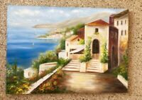 Landscape painting canvas Seascape wall art decor Hous blue brown painting gift