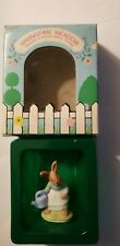 Vintage Russ Springtime Meadow Bunny Watering Can #9546 Porcelain Miniature