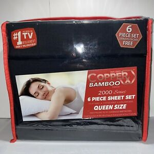 Infused Copper X Bamboo 2000 - 6pc Queen Size Series Sheet Set Black New