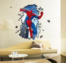 Movie Spiderman Cracked Wall Mural Decal Sticker for Kids Boy Room Decor