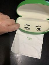 Kate Spade Bright Green Hard Sunglass Glasses Storage Case Good Condition