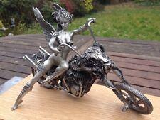 Harley Davidson Devil Chopper Temptation Rides Pewter Sculpture Erotic Semi Nude