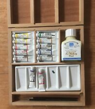 Artist Winsor & Newton Water Colours Pallet Masking Fluid Brushes Solid Wood Box