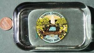 1930-40s Era Hershey Park,Pennsylvania Sunken Gardens transferware paperweight!*