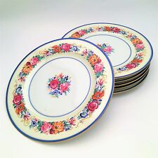 T&V Limoges, Tressemann and Vogt, Porcelain Dinner Plates, Bright Floral Motif