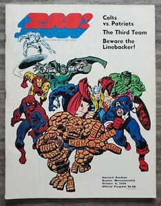 New England Patriots Vs Colts Pro Football Program 10/4/70 NFL Stan Lee Marvel