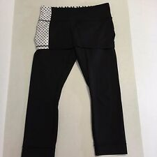 LULULEMON LUON 4-WAY STRETCH A GO GO CROP POLKA DOTSSKIRTED LEGGINGS 8 2 in 1