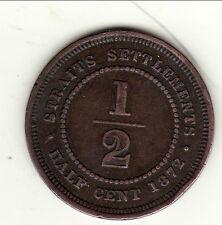 RARE STRAITS SETTLEMENTS HALF CENT 1872 H cote 130 $