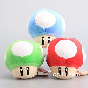 Super Mario Bros Plush Red Super Mushroom Green 1-UP Blue Soft Toy Doll 5''