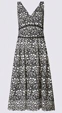 MARKS AND SPENCER FLORAL LACE SKATER DRESS 12 REGULAR BNWT