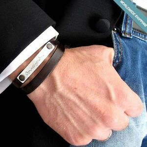Custom Leather Bracelet Personalized Mens Bracelet for him  Husband Mens Gift