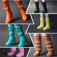 5 Pair Long Boots Casual High Heel Shoes Accessories Mix Style for Barbie Doll