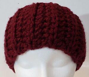 SALE Women's Medium Headband Handmade Crocheted Chunky Burgundy