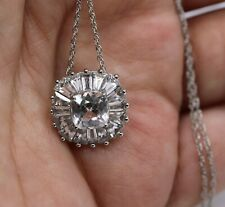 Kay's Sterling Silver 925 Cushion-Cut White Sapphire & Accents Necklace 18.5""