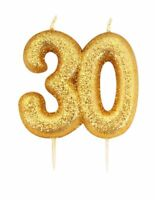 9cm Gold Glitter Number 30 Candle 30th Birthday Party Cake Decoration Supplies