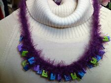 Handmade Crochet Button Necklace Magenta Purple Blue Green Fuzzy One of a Kind