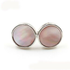 11mm Round Natural Pink Shell Gemstone Silver Stud Hook Earrings Women Newest