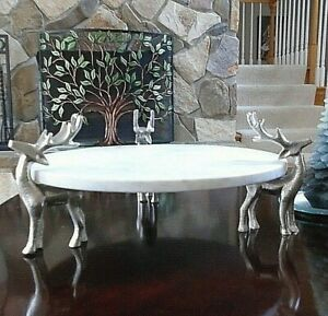 Blue Harbor White Marble Cake Plate Supported by 3 Standing Silver Reindeer