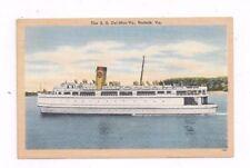 VA antique linen post card Steamer Steamship S.S. Del-Mar-Va
