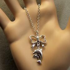 sterling silver new dolphins on bow pendant & chain