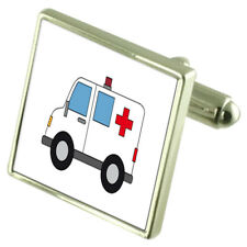 Ambulance Medic Sterling Silver Cufflinks Optional Engraved Box