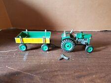 Kovap Zetor Clockwork Green Tractor & Trailer With Key  Vintage Tin Wind up