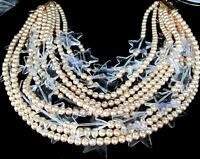COURREGES MASSIVE 12 Strand Faux Pearl Lucite Crystal Star Runway Necklace