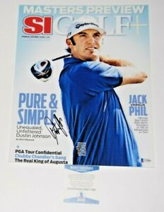 DUSTIN JOHNSON signed (SPORTS ILLUSTRATED) GOLF *MASTERS* 11X14 BECKETT BAS