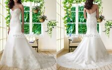 2017 Custom White/Ivory Strapless Mermaid Wedding Dress Bridal Formal Gown Prom