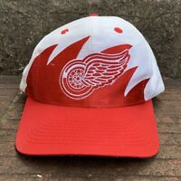 vintage 90s Logo 7 detroit red wings NHL Hockey Sharktooth Snapback Hat OSFA