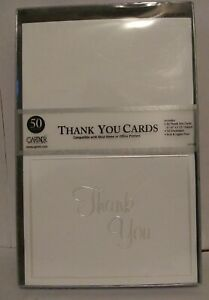 Gartner Studios White Thank You Cards, Pearl Embossed 50 count NWT wedding