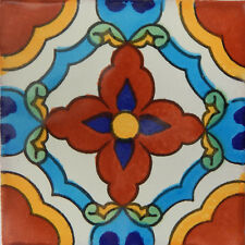 """90 Ceramic Mosaic Mexican Tiles Talavera Clay 4x4/"""" C152"""