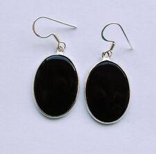 Onyx Ohrringe in 925 Sterlingsilber, schwarze Edelstein Ohrhänger in Silber,oval