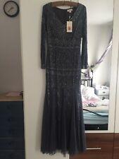 Monsoon Embellished Artisan Grey Maxi Dress SIZE 8 NEW £300 Limited Edition