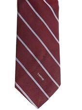"Lanvin Men's Tie 56.5"" X 3.25"" Burgundy w/ silver/white American Striped"