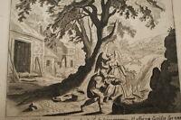 GRAVURE SUR CUIVRE SACRIFICE DE GEDEON-BIBLE 1670 LEMAISTRE DE SACY  (B61)