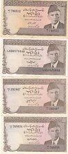 LOT OF 4 PAKISTAN  OLD RS 5 PAPER MONEY WASEM JAFRI , IMTAZ ALAM AND YAQOOB