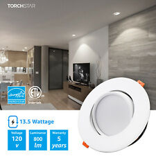 TORCHSTAR 13.5W 6inch Gimbal LED Recessed Dimmable Light, Junction Box Air Tight