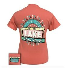 Girlie Girl Originals• Women's Love U Lake & Back Coral Orange T-Shirt Small