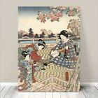 "Beautiful Japanese GEISHA Art ~ CANVAS PRINT 16x12"" Women By River"