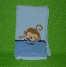 Child of Mine Carters Snuggly Monkey Blue Fleece Baby Blanket Infant Boy