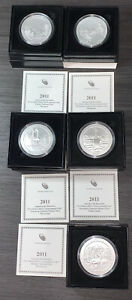 COMPLETE 2011-P SET OF 5oz SILVER AMERICA THE BEAUTIFUL COIN W/ OGP BOXES & COA