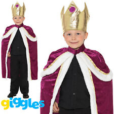 Boys King Costume Robe Gown Nativity Xmas World Book Day Week Fancy Dress Outfit