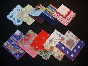 Lot of 10 Vintage Floral Hankies Handkerchiefs Excellent Condition Medium Size