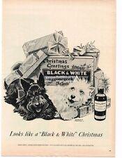 1955 Black and White Scotch Whisky Scottish terriers art Morgan Dennis Vtg Ad
