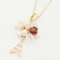 Eiffel Tower Pendant Bow Necklace Gold Plated Long Chain Jewelry Party Xmas Gift
