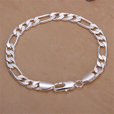 18cm Men Women Silver Plated On Solid Copper Chain Curb Bracelet Wedding Jewelry