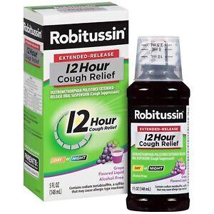 Robitussin Extended-Release 12 Hr Cough Relief Liquid Grape Flavor 5 oz