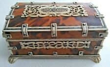 19th Century Anglo Indian Vizagapatam Box with Faux Tortoiseshell & Fretwork A/F