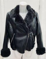 BNWT New Rrp £89.95 M&S Limited Edition Black Fur Borg Biker Jacket Coat Size 14